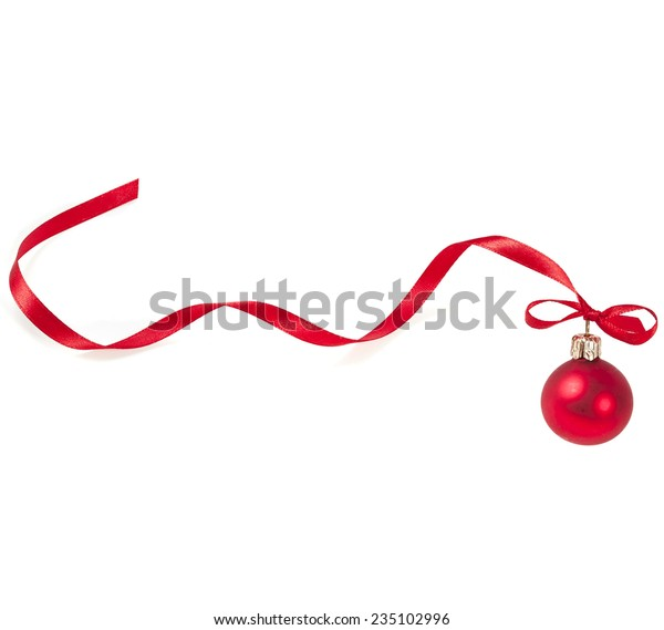 Christmas ball with red ribbon curl  isolated on white