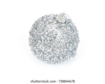 Christmas ball, silver, isolated on white background