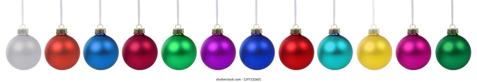 Christmas balls baubles banner colors decoration in a row isolated on a white background