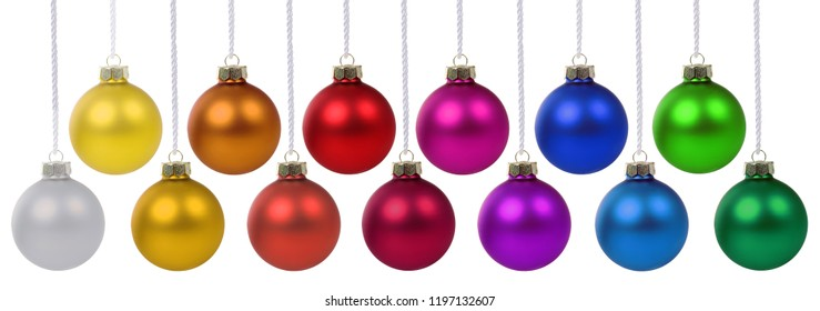 Christmas balls baubles banner deco colors decoration hanging isolated on a white background