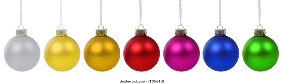 Christmas balls baubles banner deco decoration isolated on a white background