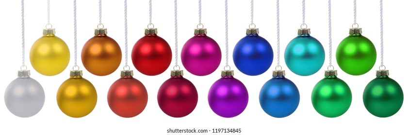 Christmas balls baubles banner decoration colors hanging isolated on a white background