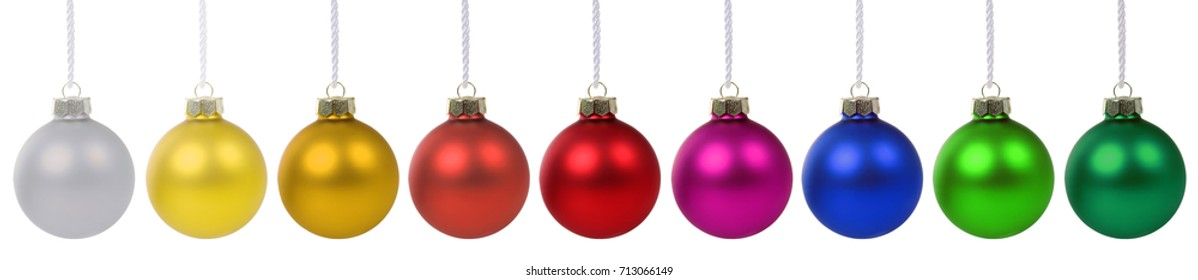 Christmas balls baubles banner decoration isolated on a white background