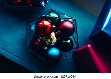 Christmas balls for a blue table background