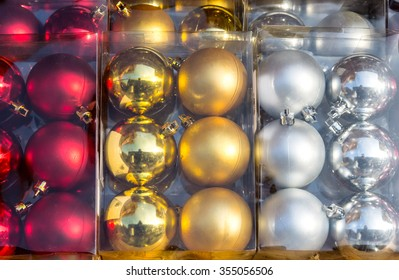 Christmas balls in box sale stand
