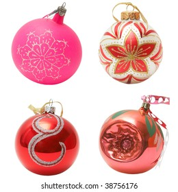 Christmas balls collection, isolated