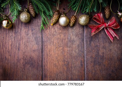 Christmas balls decor style on old wood background , wood board on christmas style
