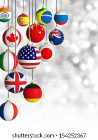 Christmas balls with different flags of the world