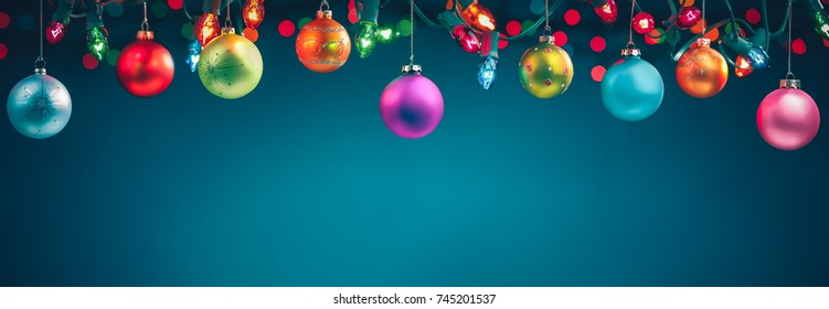 Christmas balls and festive lights
