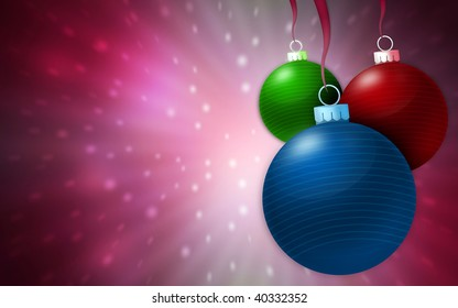 Christmas balls hanging in fantasy background