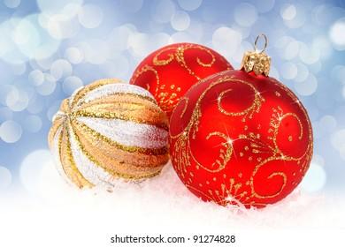 Christmas balls isolated on blue background