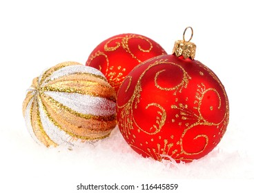 Christmas balls isolated on the white