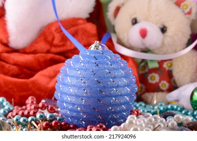 Christmas balls, new year decoration, teddy bear