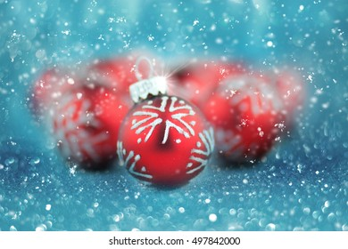 Christmas balls on abstract background