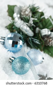 Christmas balls on the snow