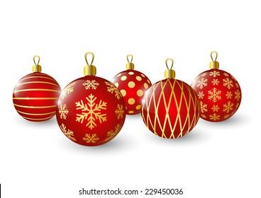 Christmas balls on white background