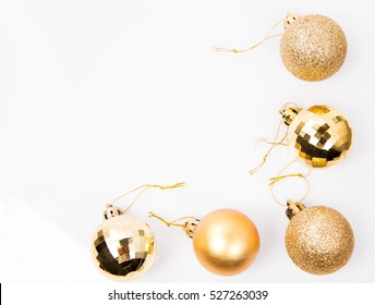 Christmas balls on white background, with space for your text