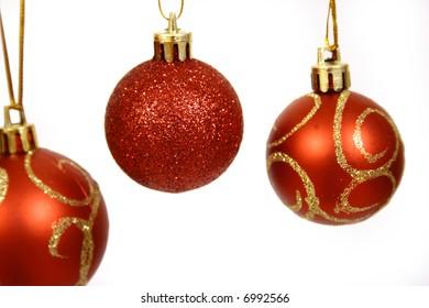 Christmas balls on a white background