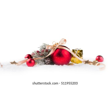 Christmas balls with pine and decorations isolated on white background. Celebration object with free space for text
