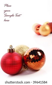 Christmas balls and place for sample text