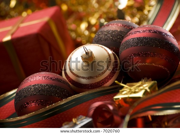 christmas balls with presents close up shoot