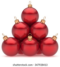 Christmas balls red pyramid New Year's Eve baubles group adornment decoration glossy spheres ornament. Happy Merry Xmas traditional wintertime holidays celebrate greeting card concept. 3d render