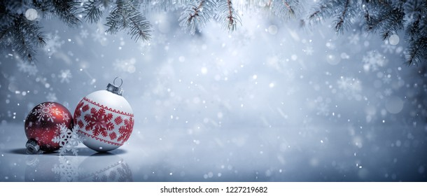 Christmas balls in snow,Christmas decoration