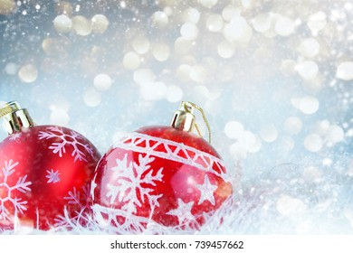 Christmas balls and snowflake on abstract background