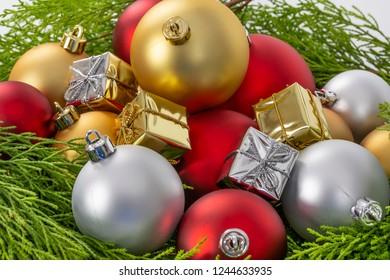 Christmas balls, Vintage Christmas background.