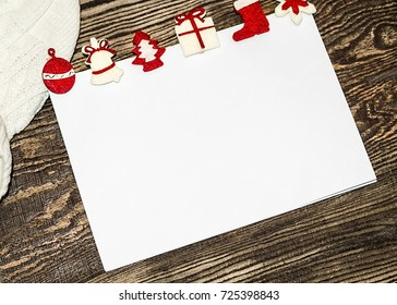 Christmas banner. Letter to Santa Claus. Wish list. Winter background. Hat and mittens.