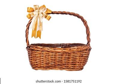 Christmas basket or Empty Wood basket and gold ribbon bow  decoration isolated on white background.