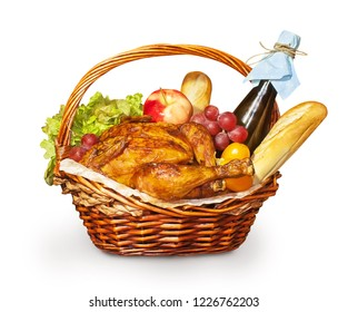 Christmas basket with fried chicken or Turkey, wine, baguette, fruit and vegetables.
