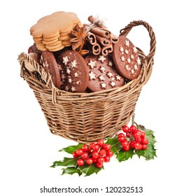 christmas basket full x-mas cookies on a white background