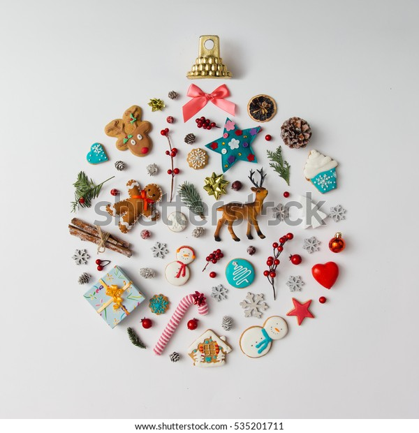 Christmas bauble made of decoration elements. Flat lay.