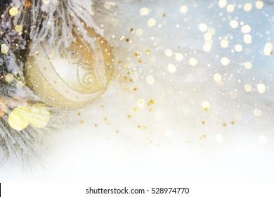Christmas bauble on snow