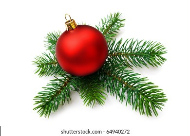 Christmas bauble and pine branches, isolated