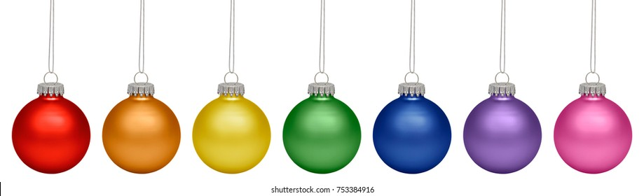 Christmas baubles all colors of the rainbow isolated on white background
