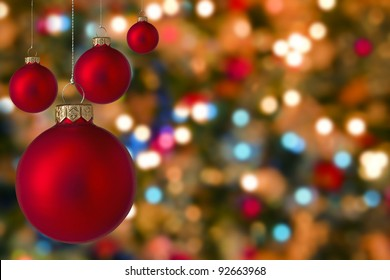 Christmas baubles with blurred  light  background