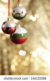 Christmas baubles and copyspace, selective focus