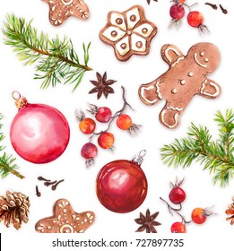 Christmas baubles, gingerbread cookies, christmas tree branches, red berries. Seamless pattern
