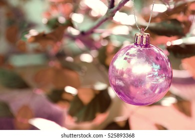Christmas baubles on chrismas tree