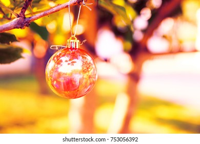Christmas baubles on chrismas tree