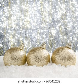 Christmas baubles with sparkling background