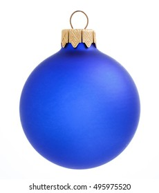 Christmas beautiful blue ball on white background