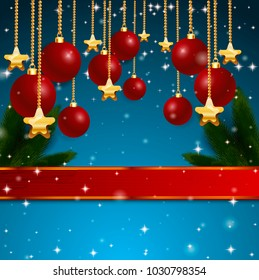 Christmas beautiful red bow with ribbon blue background