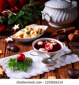 Christmas beetroot soup- borscht with small dumplings