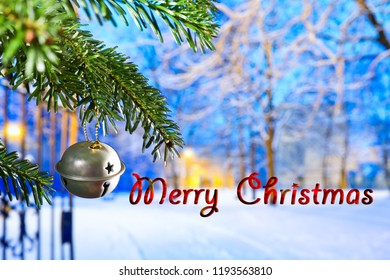 Christmas Bell at night with text Merry Christmas