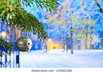 Christmas Bell at night with text Merry Christmas 2019