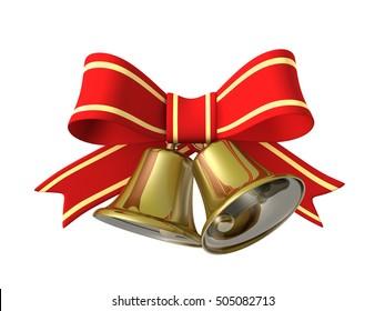 Christmas bell ribbon, 3D illustration