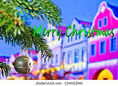 Christmas Bell and Christmas Twig  with Writing Merry Christmas